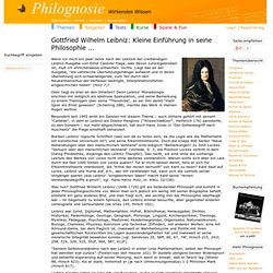 Gottfried Wilhelm Leibniz: Kleine Einführung in seine Philosophie ...