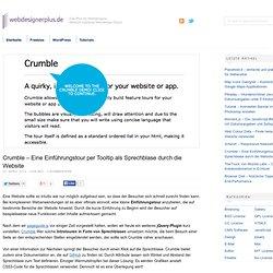 Crumble – Eine Einführungstour per Tooltip als Sprechblase durch die Website