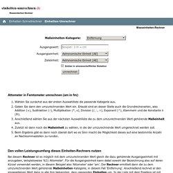 Einheiten-Rechner / Masseinheiten-Umrechner