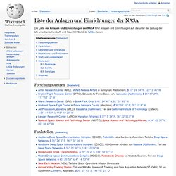 Liste der Anlagen und Einrichtungen der NASA