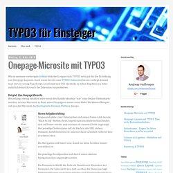 TYPO3 für Einsteiger: Onepage-Microsite mit TYPO3