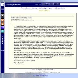 Einstein: Letter to Eric Gutkind