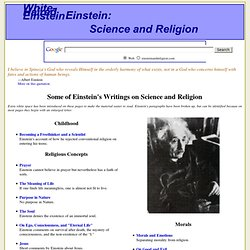 Some of Einstein's Writings on Science and Religion