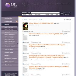 EJEL - Volume 14 Issue 2, ECGBL 2015 / May 2016