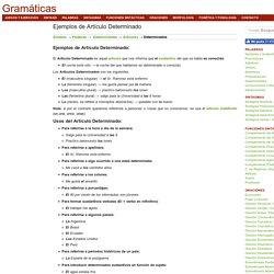 Ejemplos de Artículo Determinado
