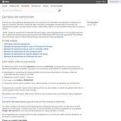 Ejemplos de expresiones - Access