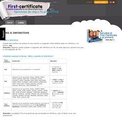Ejercicios de -Ing o To para el First Certificate