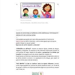 La carpeta de Olga: Ejercicios para niños con hiperactividad y déficit de atención