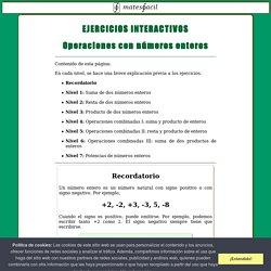 Ejercicios interactivos de números enteros