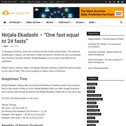 "Nirjala Ekadashi – ""One fast equal to 24 fasts"""