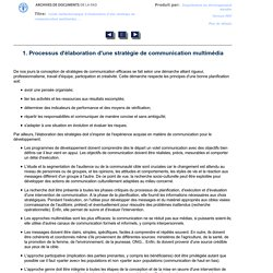 1. Processus d'élaboration d'une stratégie de communication multimédia