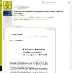 L'élaboration d'un système d'analyse documentaire en sociologie de l'éducation