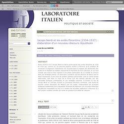Iacopo Nardi et les exilés florentins (1534-1537): élaboration d'un nouveau discours républicain