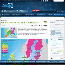 Carte des élargissements successifs, de 6 à 28 Etats membres