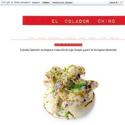 Caballa Espinaler en tempura, reducción de soja Sempio y puré de berenjena ahumada