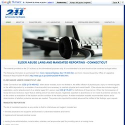 ELDER ABUSE LAWS AND MANDATED REPORTING