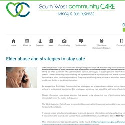 Elder abuse and strategies to stay safe - South West Community Care