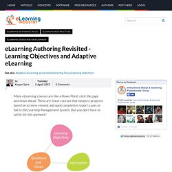 eLearning Authoring Revisited - Learning Objectives and Adaptive eLearning