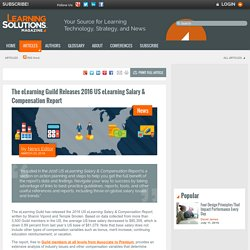 The eLearning Guild Releases 2016 US eLearning Salary & Compensation Report by News Editor