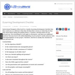 ELearning Development Checklist