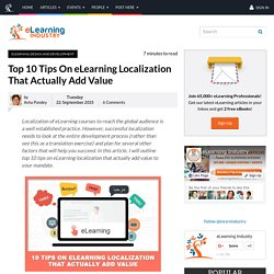 Top 10 Tips On eLearning Localization That Actually Add Value