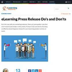 eLearning Press Release Do's and Don'ts - eLearning Industry