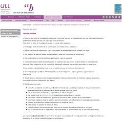 Trabajos de investigacion -2- Elección del tema (ULL)