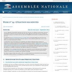 L'élection des députés - Fiche n°14 - Assemblée nationale