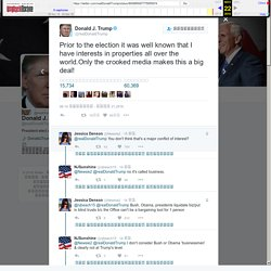 """Donald J. Trump Twitter ನಲ್ಲಿ: """"Prior to the election it was well known that I have interests in properties all over the world.Only the crooked media makes this a big deal!"""""""