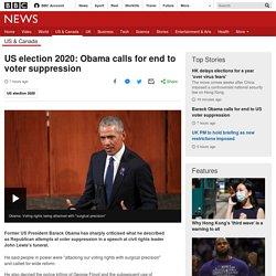 US election 2020: Obama calls for end to voter suppression