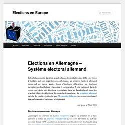 Elections en Allemagne - Système électoral allemandElections en Europe