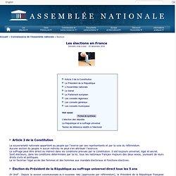 Les élections en France - Assemblée nationale