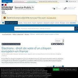 Élections : droit de vote d'un citoyen européen