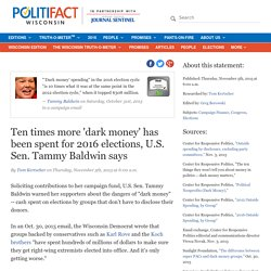 Ten times more 'dark money' has been spent for 2016 elections, U.S. Sen. Tammy Baldwin says