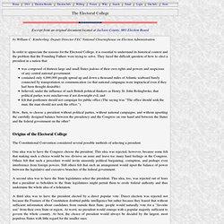 The Electoral College - Origin and History