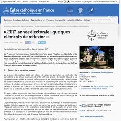 """""""2017, année électorale : quelques éléments de réflexion"""""""
