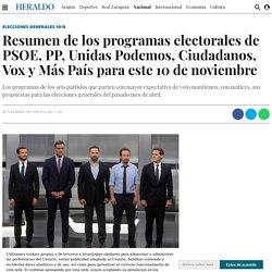 Resumen de los programas electorales del PSOE, PP, Unidas Podemos, Ciudadanos, Vox, Más País para las elecciones generales 2019