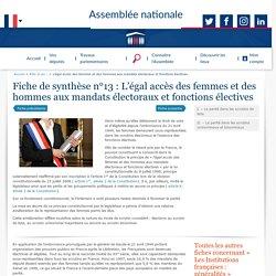 Fiche de synthèse : L'égal accès des femmes et des hommes aux mandats électoraux et fonctions électives - Rôle et pouvoirs de l'Assemblée nationale