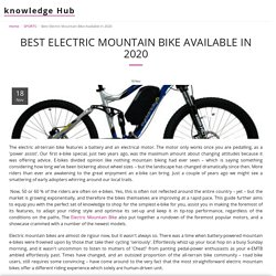 Best Electric Mountain Bike Available In 2020 - knowledge Hub