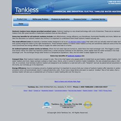 Electric Hydronic Heaters - Tankless Inc