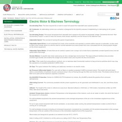 Electric Motor & Machines Terminology - U.S. MOTORS