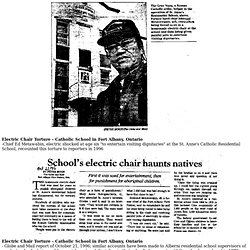 Electric Chair Torture - Catholic School in Fort Albany, Ontario