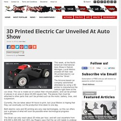 3D Printed Electric Car Unveiled At Auto Show