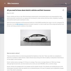 All you need to know about electric vehicles and their insurance