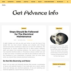 Steps Should Be Followed for The Electrical Maintenance