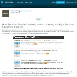 How Electrical Tenders Can Help You in Choosing the Right Electrical Equipment Supplier