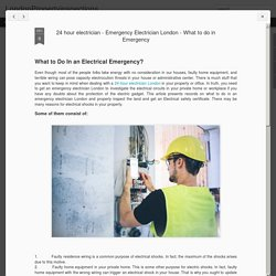 24 hour electrician - Emergency Electrician London - What to do in Emergency