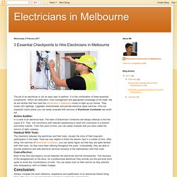 Important Checkpoints to Hire Electricians in Melbourne