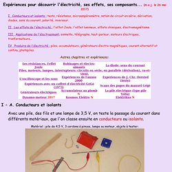 Electricité: découverte, composants, effets et applications de l'electricité. Expériences avec des coffrets Gégé, Kosmos et Elektrikus...