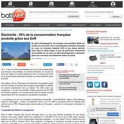 Électricité : 20% de la consommation française produite grâce aux EnR - 25/11/016